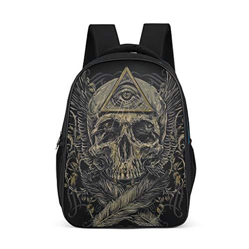 EUNNT Eye Skull Unisex Student Backpack Rucksäcke Jungen im Freienrucksack Daypacks Anzug für Business Grey OneSize