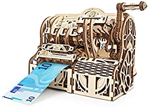 UGEARS 3D Puzzles Wooden Box - DIY Cash Register with Money Box - Exclusive Wooden Model Kits for Adults to Build - Vintage Wooden Mechanical Models - Self Assembly Woodcraft Construction Kits