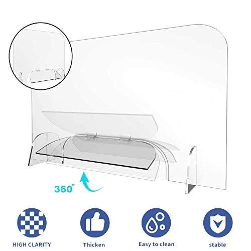MoMi Sneeze Guard Shield, Groß Plexiglas Schutzbarriere, Bildschirmschutz Für Büro-Schreibtisch-Zähler, Freistehende Isolation Shields,60 * 60cm