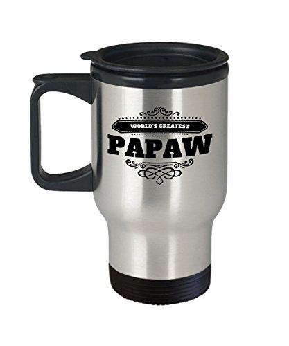Papaw Travel Coffee Mug World's Greatest Gift With Handle, Lid Insulated Stays Hot Stainless Commuter No Spill