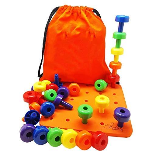 SGerste Bestes stapelbares Stecktafel-Spielzeug für Smart Kleinkinder, tolles Montessori pädagogisches Geschenk, 30 Klammern und Kordelzug Rucksack mit Anleitung für Kinder