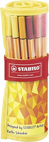 Rotulador punta fina STABILO point 88 - Estuche premium de tela Rollerset  Fan Edition con 25 colores