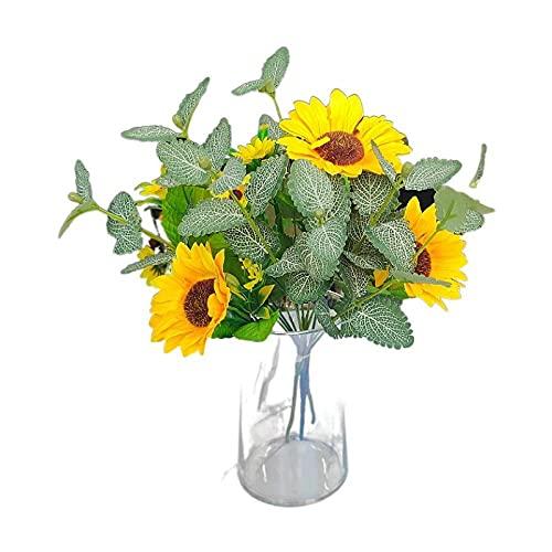 Sonze Flor de combinación de Girasol y Menta, decoración Floral de simulación,Flores Artificiales Decoracion jarrones,Resistentes a los Rayos Ultravioleta