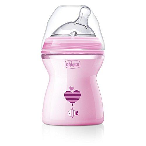 Chicco NaturalFeeling - Biberón con tetina inclinada especial para lactancia mixta, flujo medio, 250 ml, 2 m+, rosa
