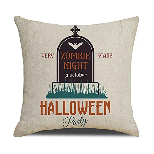 Funda de Almohada de Halloween 40x40cm Asiento Dormitorio Pareja Funda de cojín (Noche de Zombies Less -sin Almohada