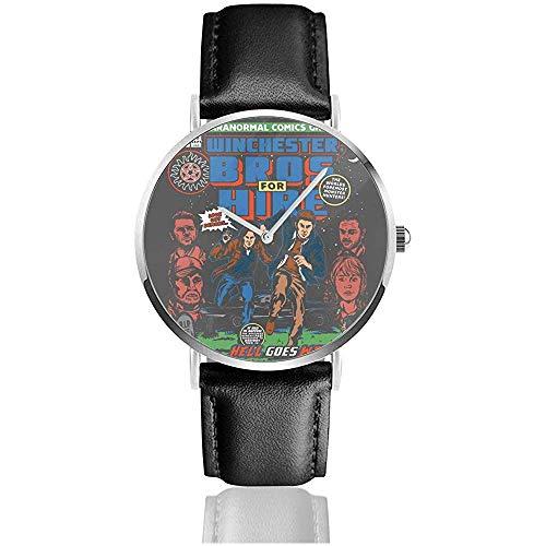 Unisex Business Casual Winchester Bros Verleih Supernatural Classic Comic Uhren Quarz Leder Uhr