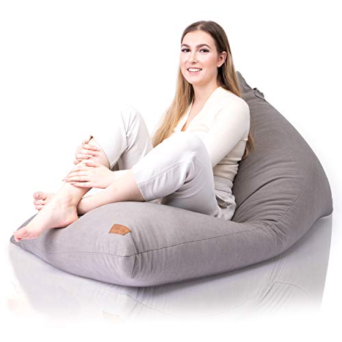 Aiire Funda de Puff Gamer Moderno - Puf Gigante sin Relleno para Decoracion Habitacion Adolescente - Puffs Infantiles - Bean Bag Chair de Salon Gris