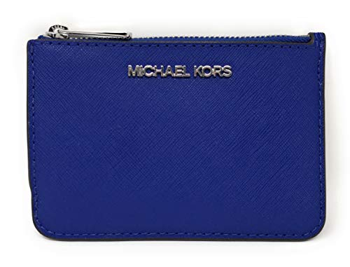 Slim saffiano finished leather coin pouch and ID holder with polished hardware Zip top compartment with card slip and a tethered split key ring inside Accented with Michael Kors logo across the front Back offers a clear ID slot, (2) card slips and a ...