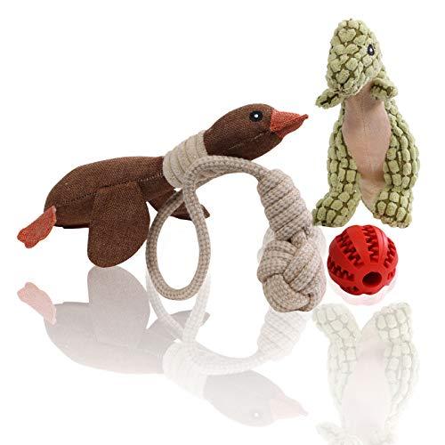 MAXX Spielzeug für Hunde Hundespielzeug 3er-Set Welpenspielzeug quietschend aus Plüsch mit Gratis Dentalball Interaktives Spielzeug zum Training, Tauziehen und Zerrspiele - 4er Set Rot