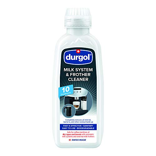 Durgol Milk System and Frother Cleaner for All Brands of Coffee Makers, External Milk Frothers,16.9 Ounce, White