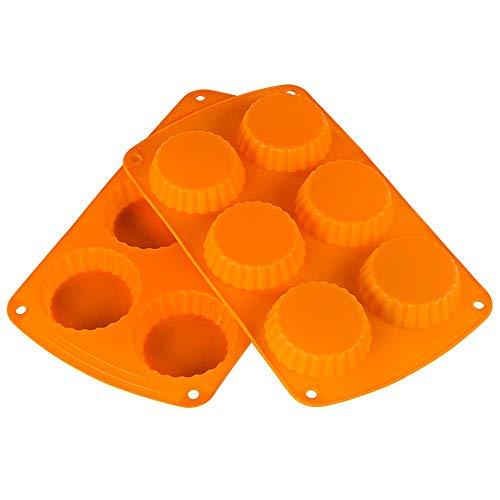 webake 2 Stück Törtchen Formen Silikon Tarteform Quicheform 6er Mini Quiche Backform für kleine Kuchen, Mini Kuchen Backform, Silikonbackform, Backblech für 6 Torten, Form zum Backen