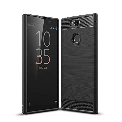 König Design Handy-Hülle kompatibel mit Sony Xperia XA2 Plus Silikon Hülle Hülle Sturzsichere Back-Cover Handyhülle - Carbon - Schwarz