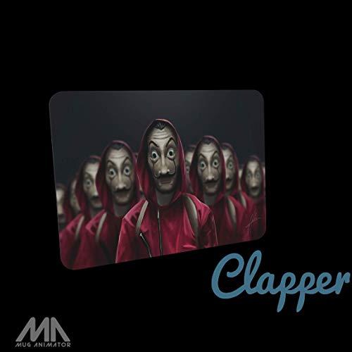 Clapper Gaming-muismat – het huis van papier – maskers, zacht uitgebreid, watervaste stof, antislip rubberen onderkant, geschikt voor alle soorten muizen.