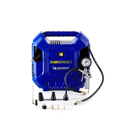 MICHELIN - Compressore d'aria portatile MB1 + Accessori per il gonfiaggio (tubo flessibile da 1 metro, pistola di gonfiaggio, ugelli) - Senza serbatoio - Senza olio - Motore 1,5 hp, BLU