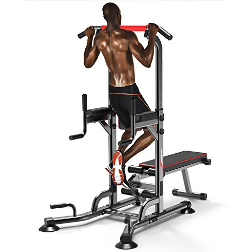 Rusilay Multifunction Power Tower Dip Station Pull Up Bar Dip Station with Dumbbell Bench,6 Level Height Adjustment,Home Gym Strength Training Fitness Equipment