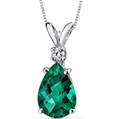 Lab Created Emerald, Pear Cut, 10 x 7 mm, 1.72 carats, Rich Forest Green Hue with Brilliant Sparkle Eyeclean Sparkling Genuine Diamonds Includes Complimentary 18 inch Sterling Silver Chain Exclusive Craftsmanship and Styling 30 Day Return Policy