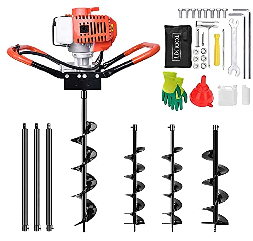 72cc Post Hole Digger Auger - Shueriu 3KW 3190rpm Petrol Gas Powered Earth Digger Earthquake Borer Auger Drill Bit Kit with 3 Extension Bars and 3 Bits