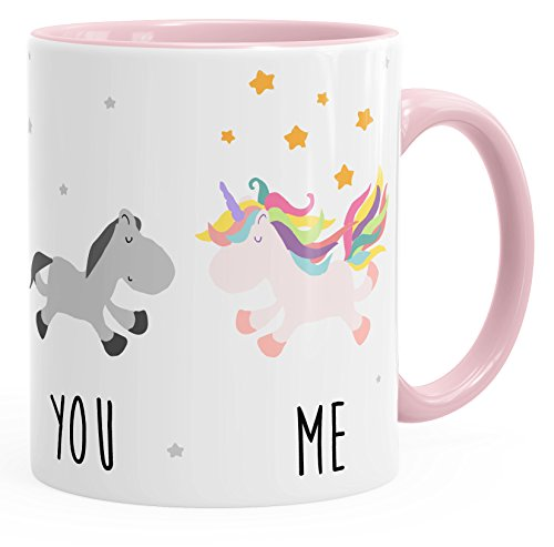MoonWorks Kaffee-Tasse You and Me Einhorn Unicorn Kaffeetasse Henkel innen farbig rosa Unisize