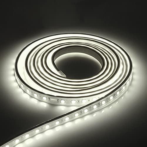 Kefflum LED Streifen LED Stripes LED Lichtband IP65 5050 LED Band 230V 60 LEDs/M 3M Kaltweiß für von Haus, Küche, Garten [Energieklasse A+++]