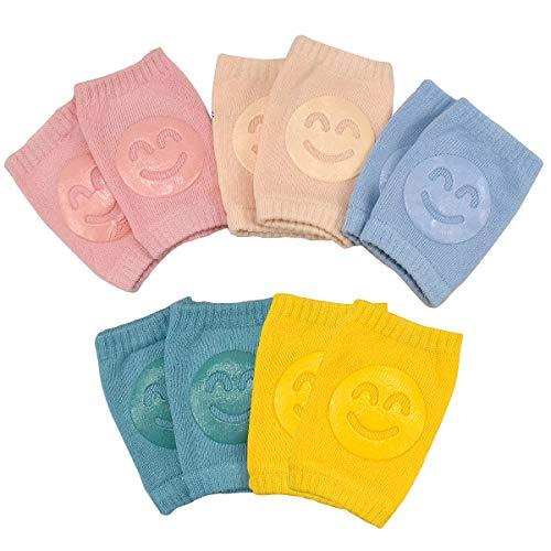 NATUCE 5 Paar Baby Krabbel Knieschoner, Baby-Knieschützer, Elastische Baby-Beinlinge mit Gummi Lächeln Pad Anti-rutsch für 0-24 Monate