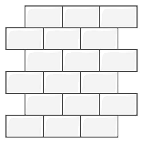 HomeyMosaic Juego de 5 adhesivos 3D para azulejos (30 x 30 cm), color blanco