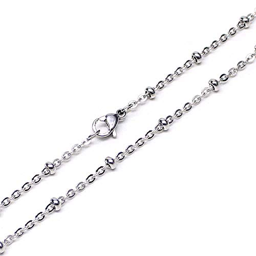 Wholesale 12 PCS Stainless Steel Beaded Chain Satellite Chains Necklace Bulk for Jewelry Making 18-30 Inches (26 Inch(2MM))