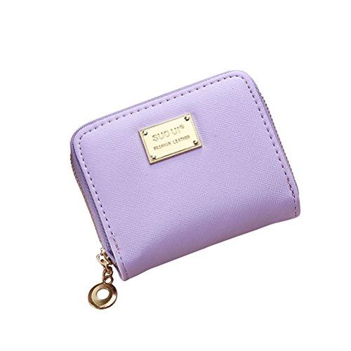 Tinksky Klein Portemonnaie mit Reißverschluss Damen Kleine Geldbeutel PU Leder Brieftasche für Frauen Mädchen (Lila)