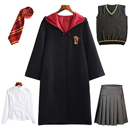 New front Carnevale di Costume Hogwarts Costume per Bambino Adulto Cosplay Magia Mantello Cravatta Gilet maglione Camicia Gonna o Pantaloni Kit di travestimento Halloween Natale
