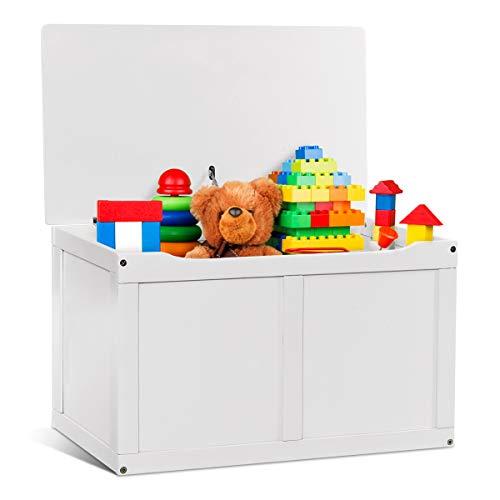 Costzon Wooden Kids Toy Storage Chest Organizer, Children Large Storage Cabinet Bench with Flip-Top Lid, 2 Safety Hinge, Toddler Room Organizer Box for Playroom, Home (White)