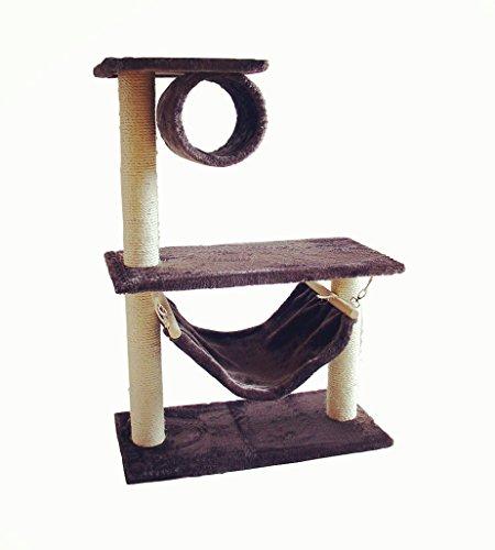 Albero tiragraffi per gatti, 85x60x30 cm, con culla/divano a dondolo (gioco su dondolo), morbido tessuto di alta qualità, facile da pulire e montare