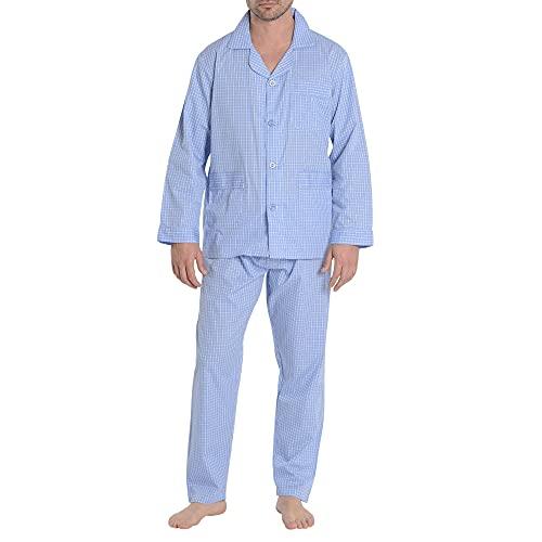 El Búho Nocturno - Pijama Hombre Largo Solapa Popelín Cuadros Azul Royal 60% algodón 40% poliéster Talla 6 (XXL)