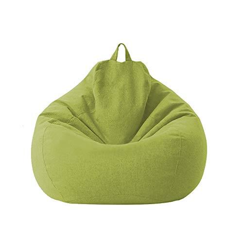 Groß Klein Faule Sofa-Abdeckung Stuhl ohne Padded Leinen Lehnstuhl Sitzsack Sofa Tatami Wohnzimmer (Color : Green 1, Size : 80X90)