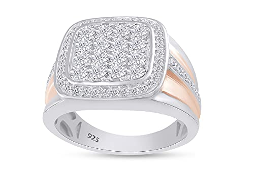 AFFY Anillo de oro de 18 quilates sobre plata de ley (0,5 quilates) con diamantes naturales blancos de dos tonos, Diamond,