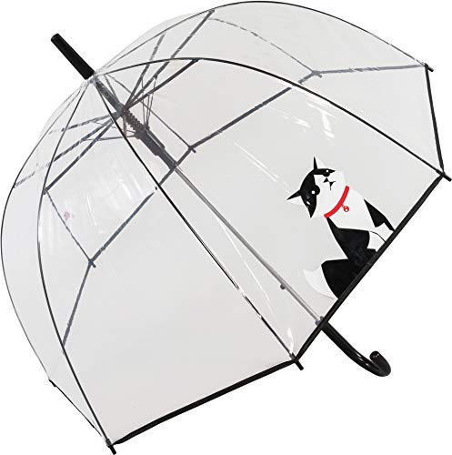 Susino Regenschirm, Glocke, transparent, mit Aufdruck, Kleiner Katze, automatischer Regenschirm, großer Schutz mit einem Durchmesser von 85 cm, transparent, Bedruckt mit Katze