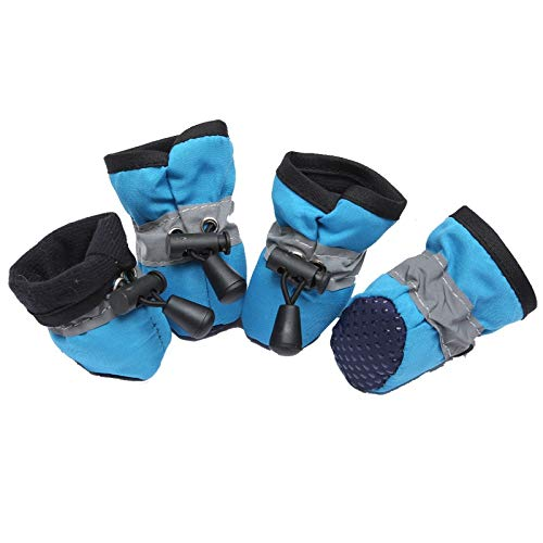 AIRLUCKY 4 Stks Waterdichte Hond Schoenen Voor Kleine Honden Chihuahua Verstelbare Reflecterende Regenlaarzen Puppy Pet Kat Sokken Laarzen Huisdier Producten, 1, Blauw