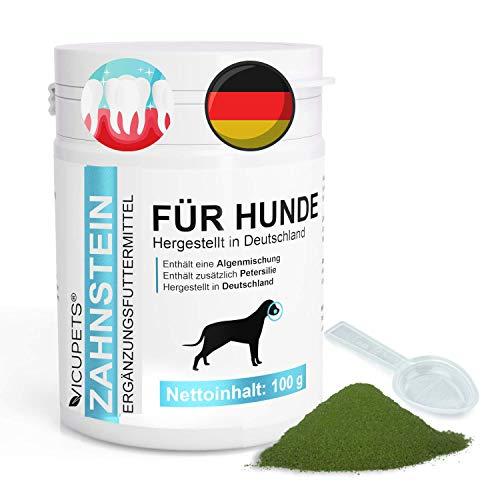 Vicupets Zahnsteinentferner Hund | 100g Zahnpulver für Hunde | Prophylaktische Zahnpflege Hund gegen Mundgeruch | 100% Natürliches Pulver |