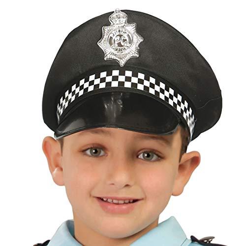 Amakando Schöne Polizisten-Mütze für Kinder / Schwarz / Polizeikappe ideal zum Polizeikostüm / Perfekt geeignet zu Kinder-Karneval & Fasching
