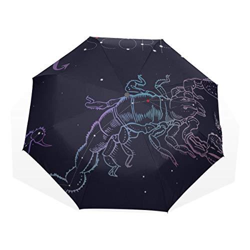 Travel Umbrella Zodiaco Segno zodiacale Scorpione Anti Uv Compact 3 Fold Art Leggero Ombrelli Pieghevoli (all'esterno di stampa) Antivento Antipioggia Protezione solare Ombrelli per donne Ragazze Bam