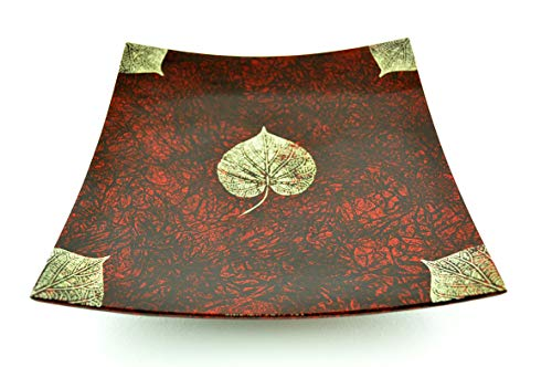 viethuy03 H049M Assiette en bois laqué faite à la main Forme carrée incurvée Plateau décoratif et de service Taille moyenne Rouge