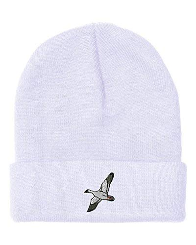 Custom Beanie for Men & Women Snow Goose Embroidery Acrylic Skull Cap Hat White Design Only