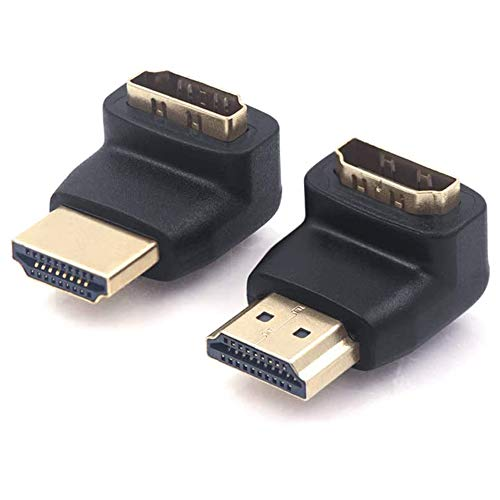 VCE 2 Stück HDMI Adapter HDMI Winkelstecker 90 Grad und 270 Grad 3D&4K HDMI Stecker auf Buchse Adapter HDMI Abgewinkelt Verbinder Vergoldete Kontakte