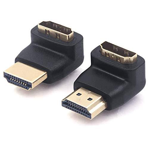 VCE 2 Unidades Adapatador HDMI con Ángulo de 90 y 270 Grados Macho a Hembra Compatible con 3D y 4K