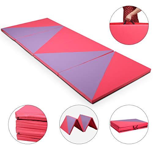 COSTWAY Weichbodenmatte 300 x 120 x 5 cm | Gymnastikmatte klappbar | Yogamatte verbindbar | Turnmatte groß | Klappmatte | Fitnessmatte Farbwahl (Lila/Rot)