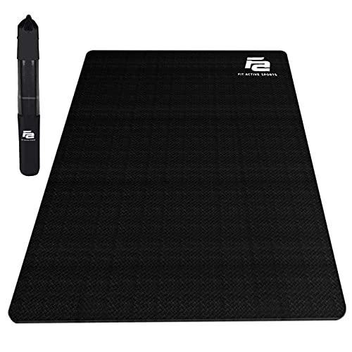 Fit Active Sports Large Exercise Mat 6' x 4' x 8mm | Thick Non-Slip Extra Wide Workout Mat for Home Gym, Cardio, Yoga, Floor Fitness, MMA, Plyo, and Jump Rope | High Density | Shoe Friendly