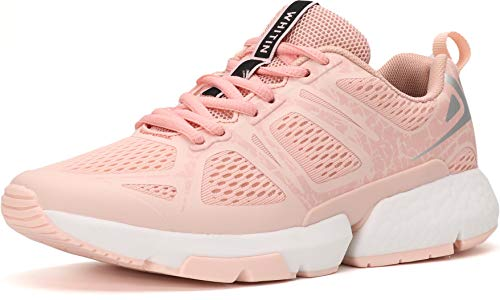WHITIN Women Athletic Shoes Mesh Breathable Comfort Sneakers Running Sports Size 11 Tennis Walk Casual Shoes Snickers Long Distance Snickers with Arch Support Pink