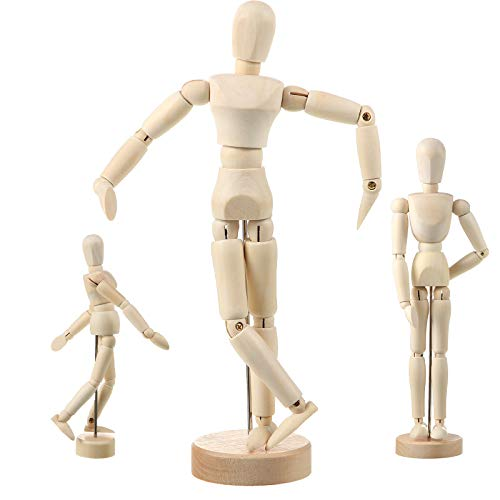 3 Pieces Artist Mannequin Model Moveable Wooden Manikin Wood Drawing Jointed Mannequin with Stand for Home Decoration