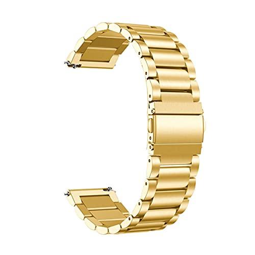 Starp - Correa de reloj de metal para Samsung Galaxy Watch Active 20 mm 22 mm de acero inoxidable de liberación rápida pulsera de repuesto para reloj inteligente para hombres y mujeres (24 mm, oro)
