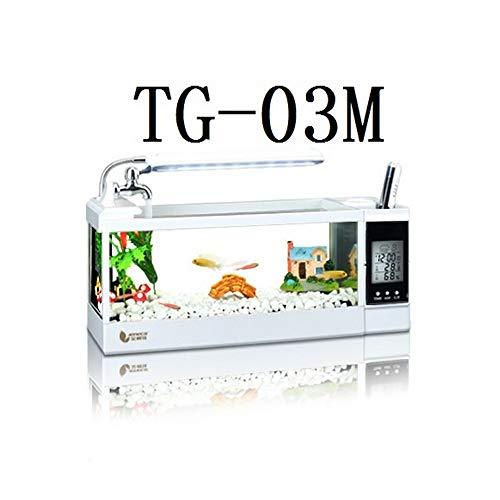 Shuaienfushi Tisch-Aquarium, multifunktional, Mini-Fischtank mit LED-Pumpe, Licht, Kalender, Wecker, Stiftebehälter
