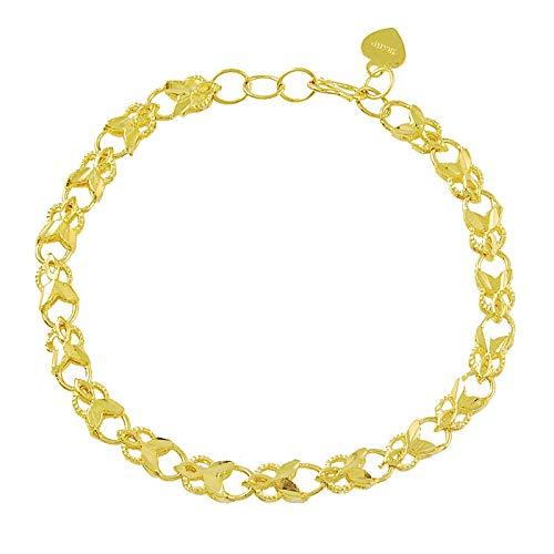 ShSnnwrl Estilo clásico Mujer/Niña Oro Amarillo Relleno Irregular Corazón Enlace Pulsera Brazalete Regalo Joyería