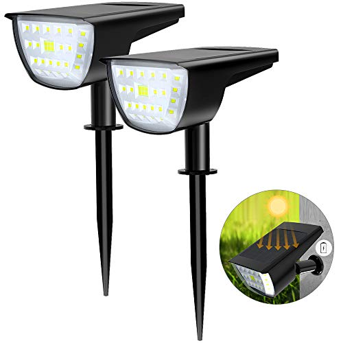 WAKYME 32 LED Solar Landscape Spotlight, 2-in-1 Solar Wall Light IP67 Waterproof Solar Spot Lights Outdoor for Yard Garden Porch Walkway Driveway Pool Patio Cool White 2 Pack